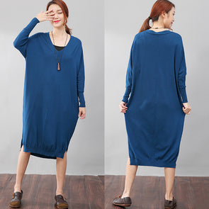 Women Solid Blue Long Sleeve Side Slit Casual Dress - Buykud