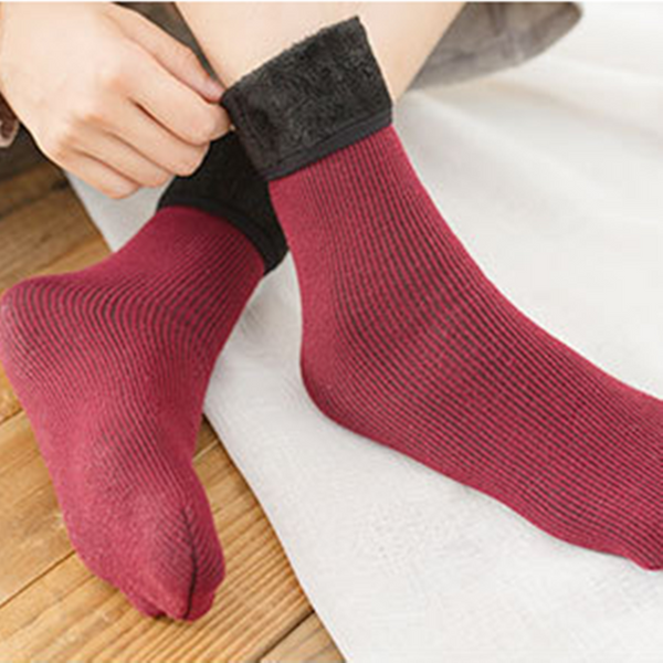 Cotton Wool Casual Keep Warm Wine Red Women Socks