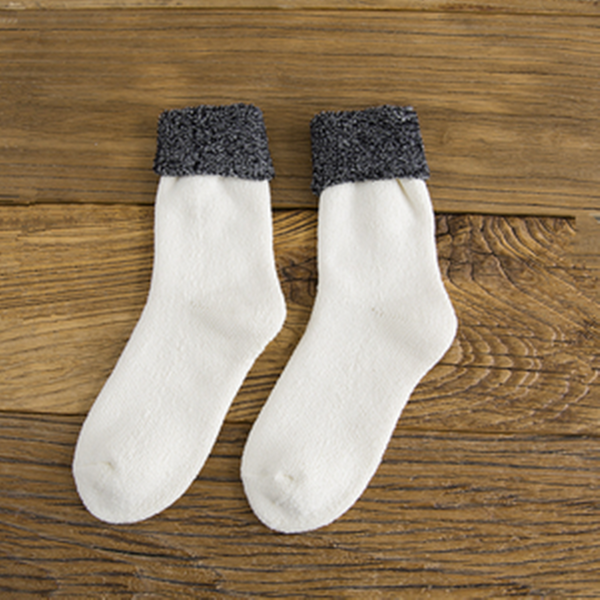 Cotton Wool Polyester Casual Keep Warm Beige Women Socks