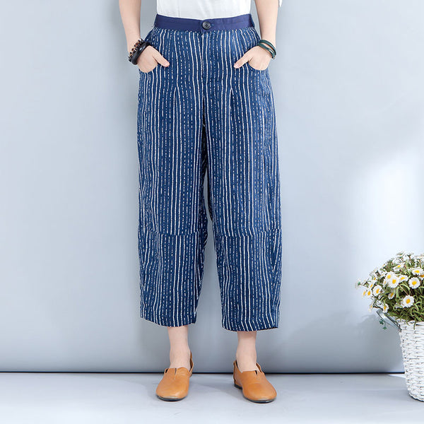 Spring Summer Casual Stripe Calf Length Blue Pants - Buykud