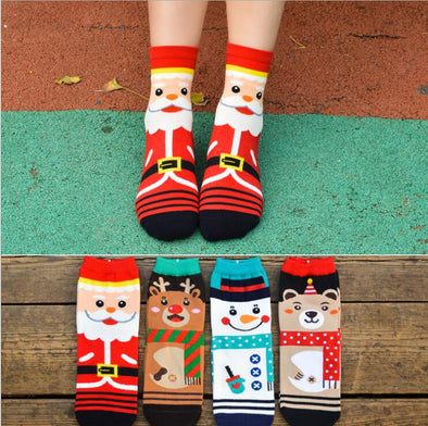 12 Pairs Cartoon Women Christmas Winter Socks