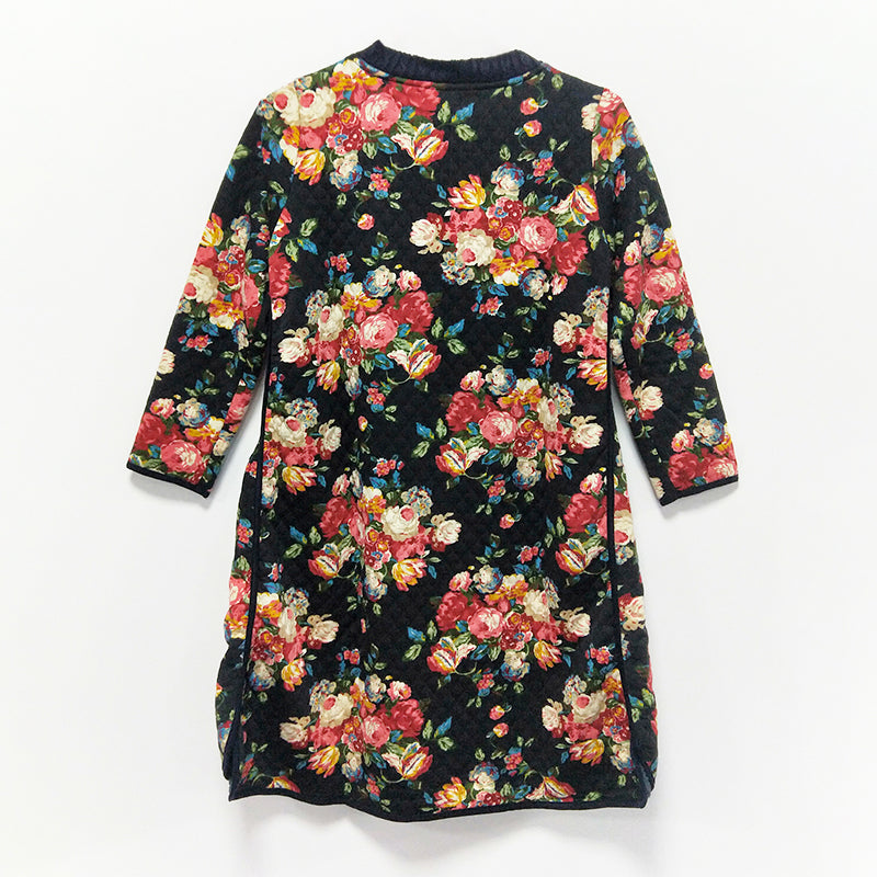 Winter Casual Floral Knee-Length Pullovers Loose Long Sleeve Dress