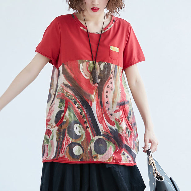 Women Short Sleeve Red Casual Blouse - Buykud