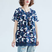 Women Casual Short Sleeve Printed Blue Tops Blouse - Buykud