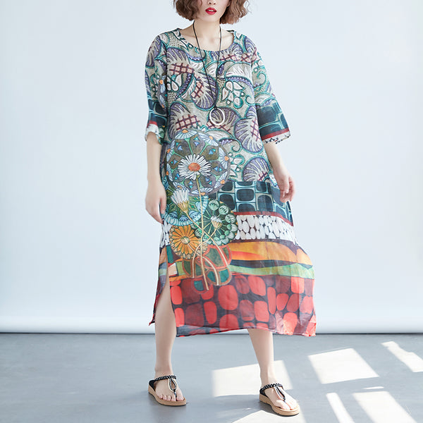 Women Printed Pockets Slit 1/2 Sleeve Dress - Buykud