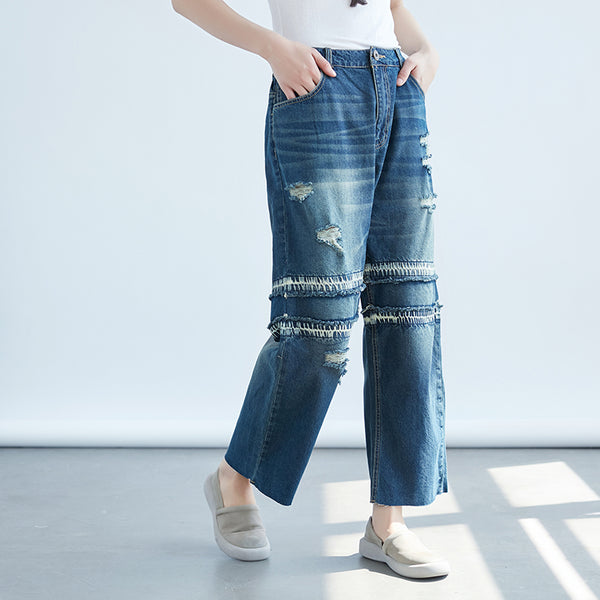 Women Dark Blue Denim Loose Pants - Buykud
