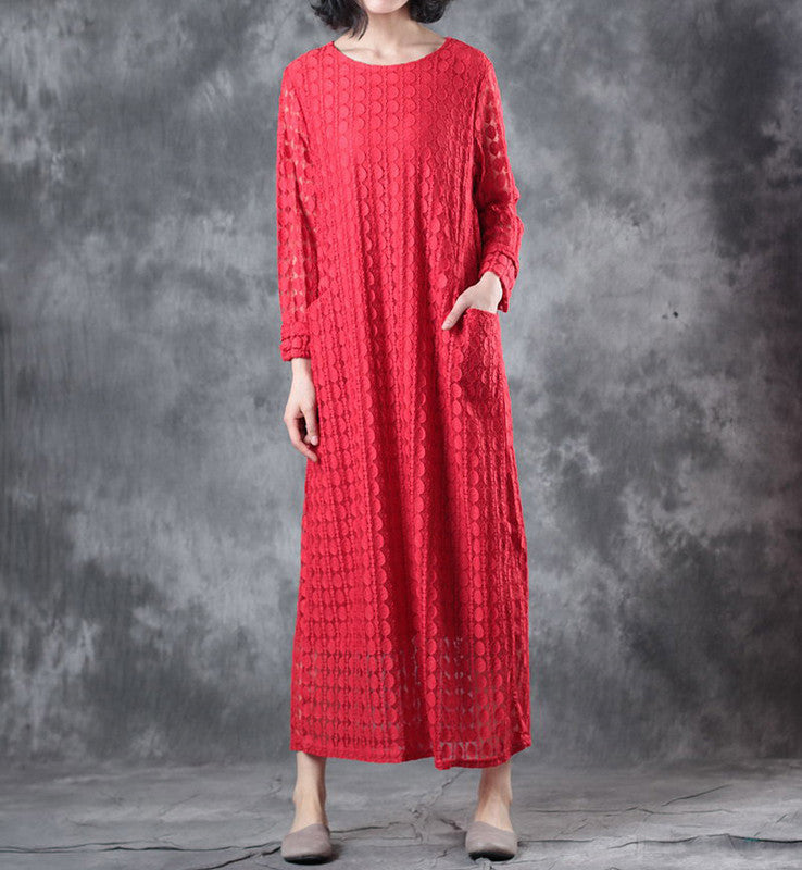 Round Neck Lace Long Sleeve Lining Women Red Dress - Buykud
