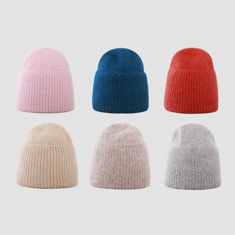 Rabbit Fur Pure Color Warm Knitted Hat