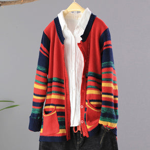 Rainbow Striped Women Casual Cardigan Sweater