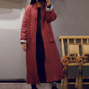 Ramie Cotton Solid Long Women Coat