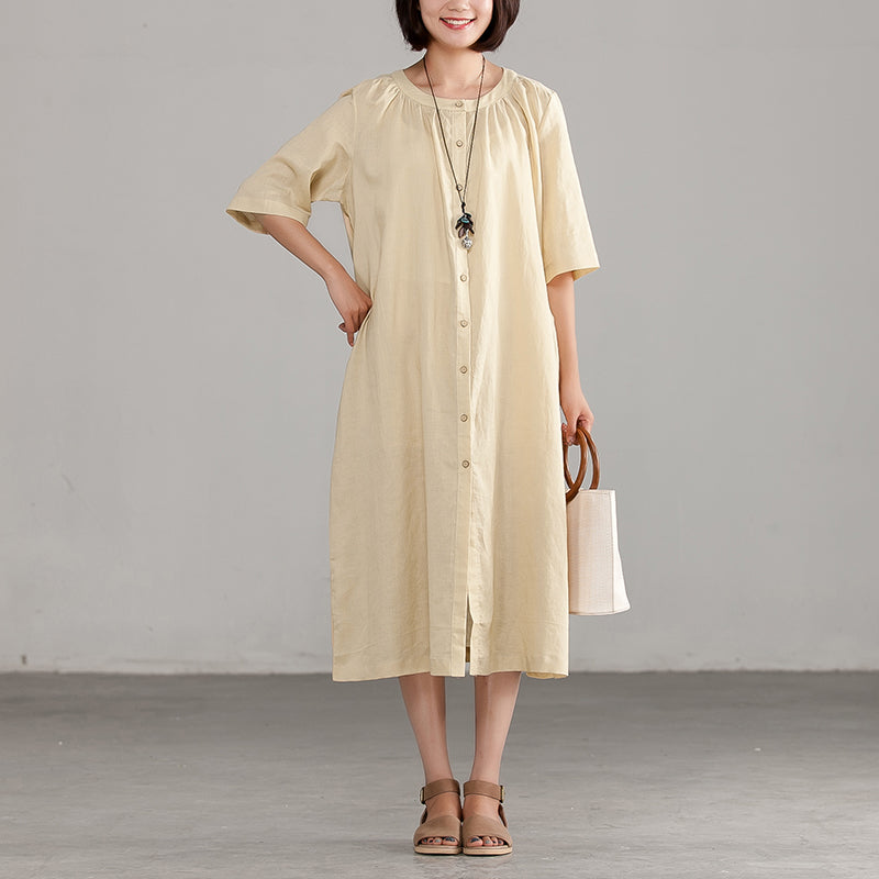 Ramie Short Sleeve Round Neck Commuter Dress