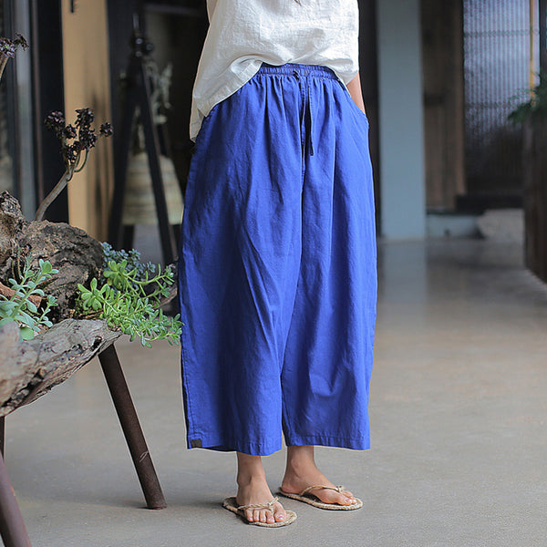 Ramie Solid Sand Wash Ankle-Length Pants
