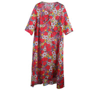 Ramie V-Neck Print Linen Women Dress