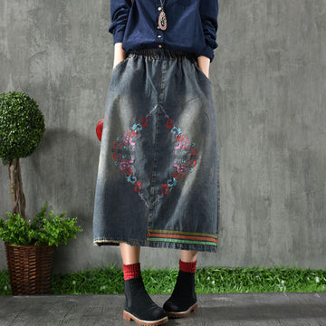 Raw Hem Literary Embroidery Denim Skirt