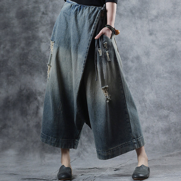Rayon Worn out Vintage  Ankle Length Wide Leg Jeans