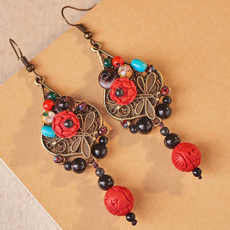 Red Flower Alloy Dragonfly Retro Earrings