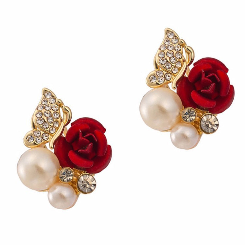 Red Rose Butterfly Pearl Earrings