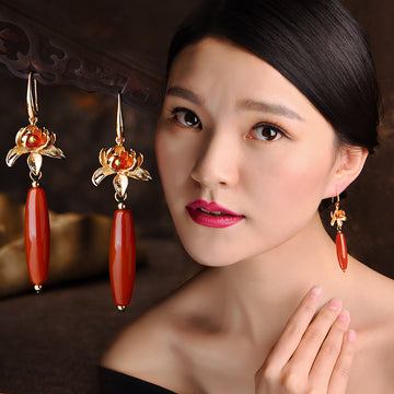 Red Agate Festive Flower Earrings