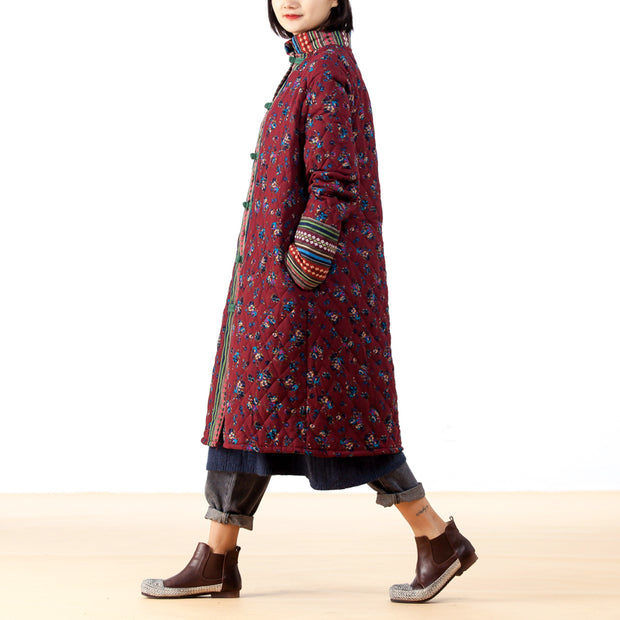 Floral Long Women Cotton-padded Coat
