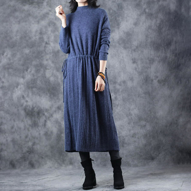O-neck Casual Loose Drawstring Blue Dress