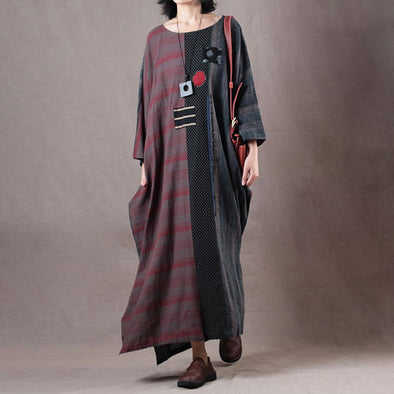 Red Retro Linen Three-quarter Sleeve Dress