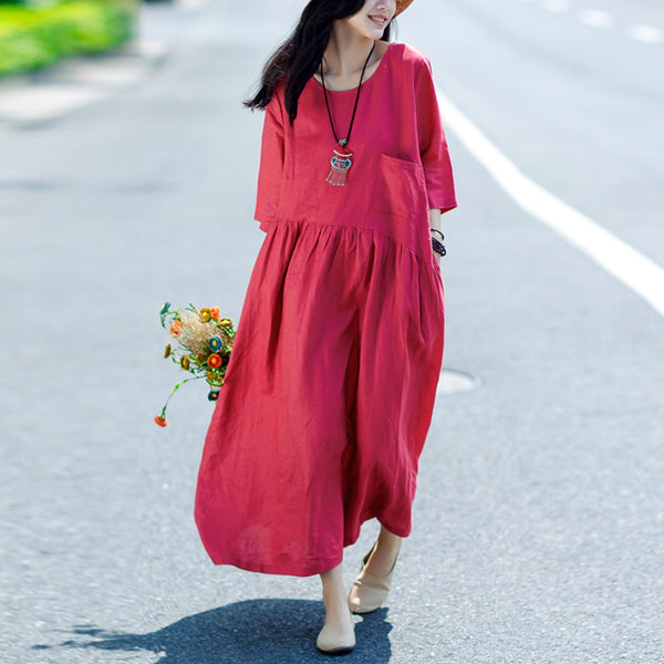 Plus Size Red Summer Short Sleeve Loose Linen Dress