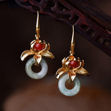 Retro Alloy Lotus Jade Earrings