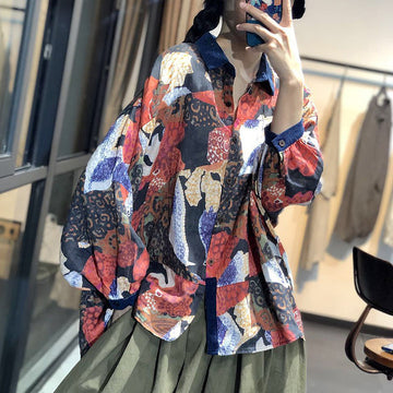 Retro Bat Sleeve Abstract Printed Loose Blouse