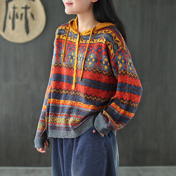 Retro Breasted Knitted Drawstring Hooded Blouse