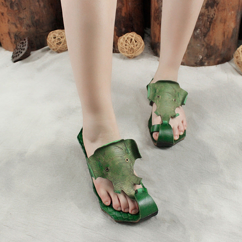 Retro Casual Elephant Shaped Leather Sandals
