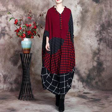 Retro Color Stitching Plaid V-neck Dress