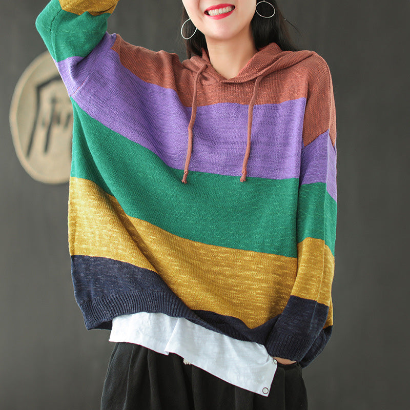 Retro Color Stitching Striped Hooded Blouse