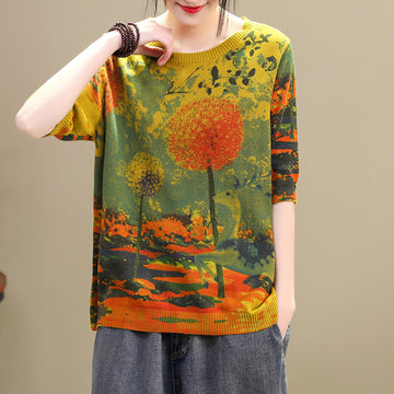 Retro Dandelion Print Thin Knitted Shirt