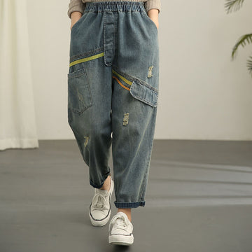 Retro Denim Cotton Hole Spliced Pocket Jeans