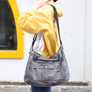 Retro Distressed Pure Color Shoulder Bag