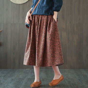 Retro Elastic Waist Floral Cotton A-line Skirt