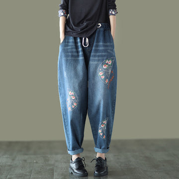 Retro Embroidered Drawstring Pocket Jeans