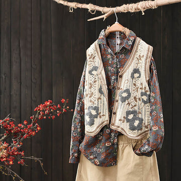 Retro Floral Embroidered Hollow Knitted Casual Vest