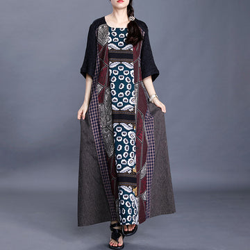 Retro Flower Geometric Stitching Cotton Linen Dress