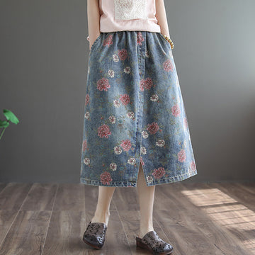 Retro Flower Print Split Hem 100% Cotton Skirt