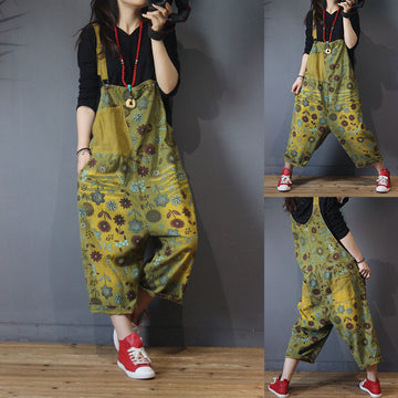 Retro Flower Printed Patchwork Corduroy Jumpsuit