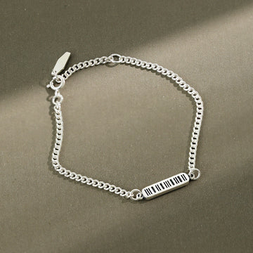 Retro Geometric Rectangle Silver Chain Bracelet - Buykud