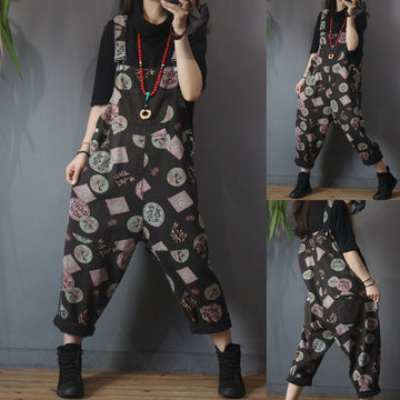Retro Geometry Letter Print Pocket Jumpsuits Dungarees