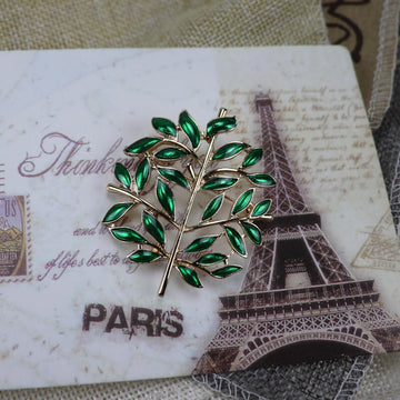 Retro Green Leaves Branches Brooch