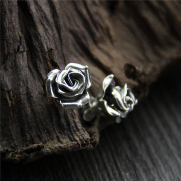 Retro Handmade Silver Rose Earrings