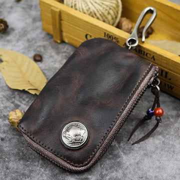 Retro Hanging Buckle Leather Key Case