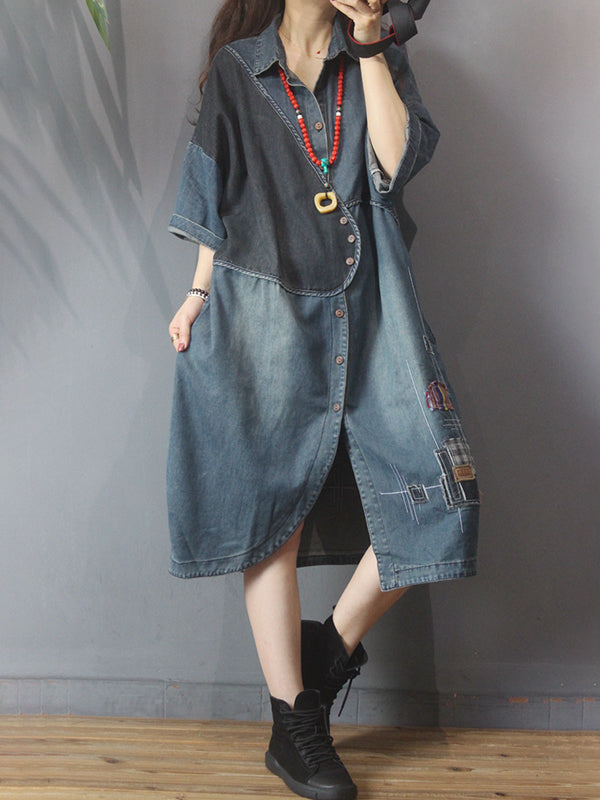 Retro Irregular Patchwork Embroidery Denim Dress