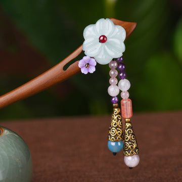 Retro Jade Flower Wooden Hairpin
