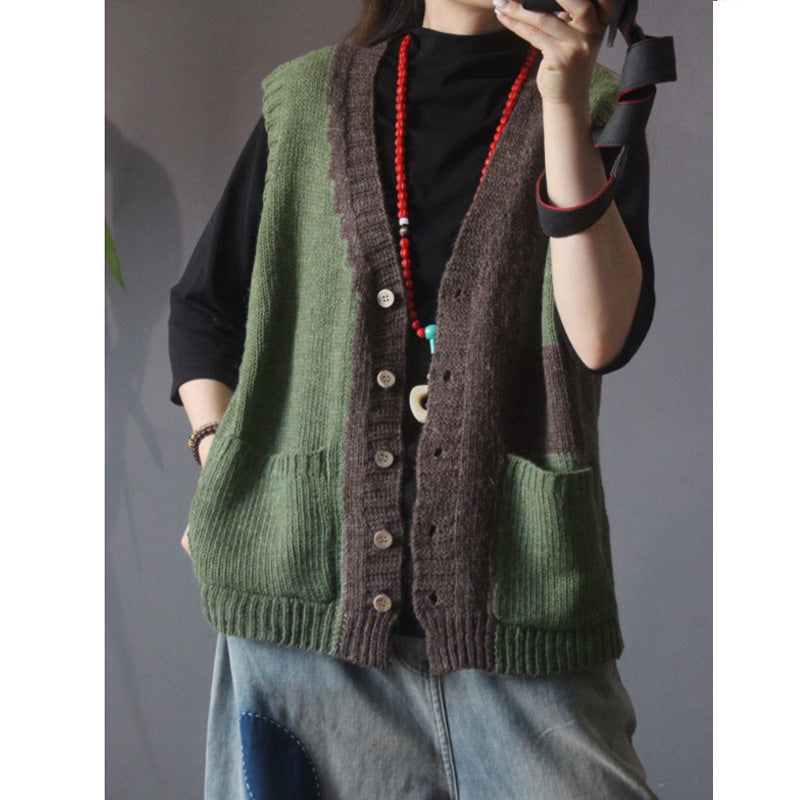 Retro Knitted Color Contrast Sleeveless Coat