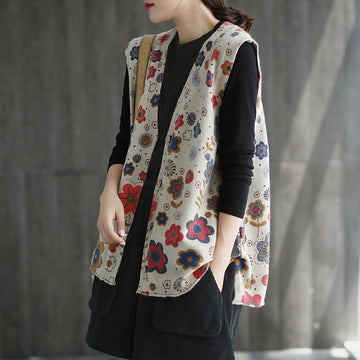 Retro Knitted Floral Sleeveless Split Hem Coat